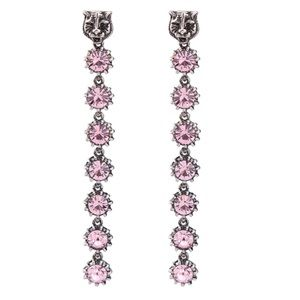 Women's feline head & pink Crystal drop earrings